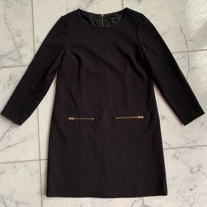 J.Crew Black Faux Leather Zip Dress